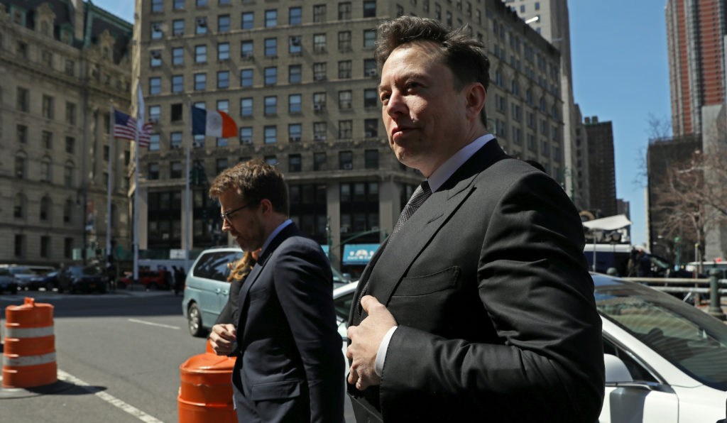 Tesla CEO Elon Musk arrives at Manhattan federal court for a hearing on his fraud settlement with the Securities and Exchange Commission in New York City, April 4, 2019. Photo by Brendan McDermid/Reuters