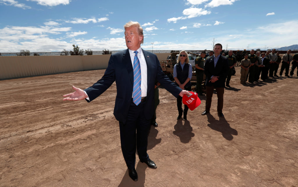U.S. President Donald Trump visits the US-Mexico border in Calexico California, U.S., April 5, 2019. Photo by Kevin Lamarq...