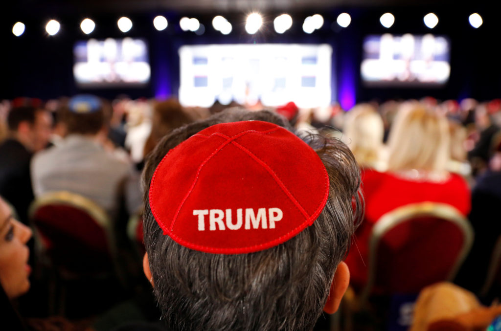 A man wears a Trump yarmulke while waiting for U.S. President Donald Trump to address the Republican Jewish Coalition 2019 Annual Leadership Meeting in Las Vegas, Nevada, U.S., April 6, 2019. Photo by Kevin Lamarque/Reuters