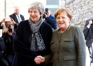 British Prime Minister Theresa May is welcomed by German Chancellor Angela Merkel, as they meet to discuss Brexit, at the chancellery in Berlin, Germany, April 9, 2019. Photo by Fabrizio Bensch/Reuters