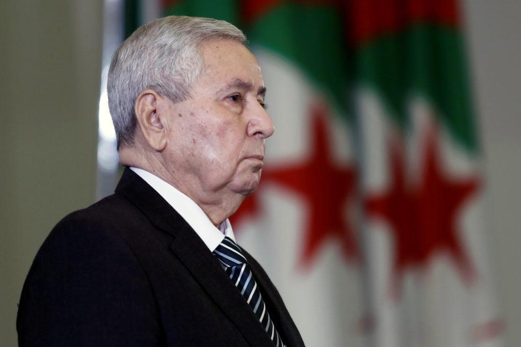 Algerian upper house chairman Abdelkader Bensalah is pictured after…