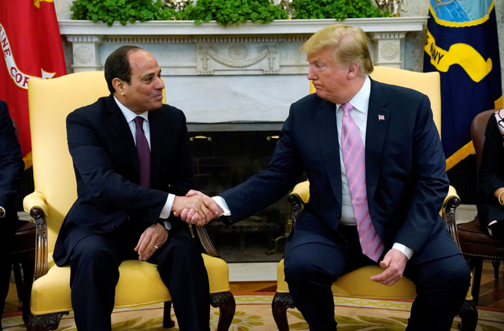 President Donald Trump meets with Egypt President Abdel Fattah al-Sisi at the White House in Washington. Photo by Kevin Lamarque/Reuters