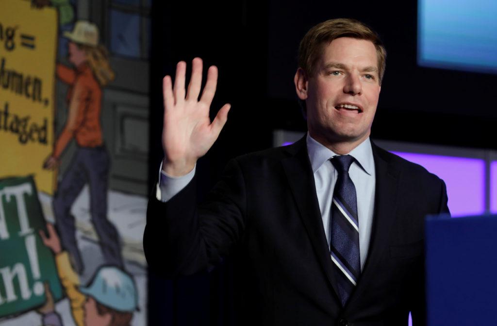 Democratic U.S. presidential candidate U.S. Representative Eric Swalwell (D-CA) arrive to speak at the North America's Bui...