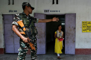 A woman leaves after casting her vote at a polling station during the first phase of general election in Alipurduar district, in the eastern state of West Bengal, India, April 11, 2019. Photo by Rupak De Chowdhuri/Reuters