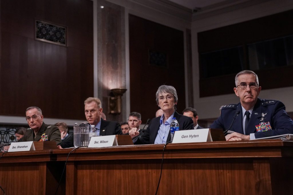 Chairman of the Joint Chiefs of Staff Gen. Joseph F. Dunford Jr., Acting Defense Secretary Patrick Shanahan, Secretary of the Air Force Heather Wilson and Air Force Gen. John E. Hyten testify at a Senate Armed Services hearing on the proposal to establish a U.S. Space Force, in Washington on April 11, 2019. Photo by Jeenah Moon/Reuters