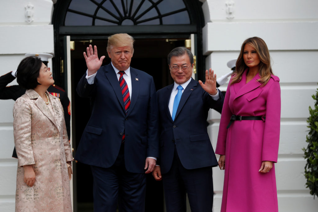 President Donald Trump President and first lady Melania Trump welcome South Korea's President Moon Jae-in and his wife Kim Jung-sook to the White House on April 11, 2019. Photo by Carlos Barria/Reuters