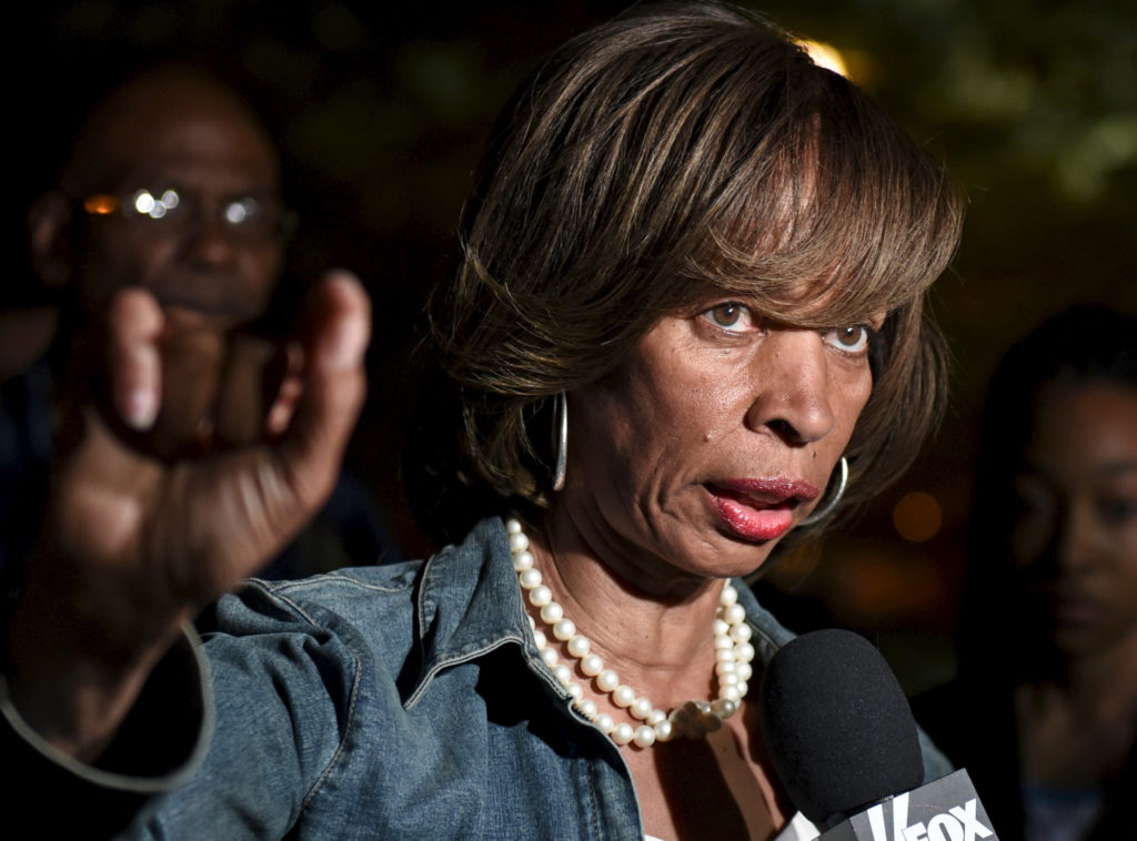 Then-State Sen. Catherine Pugh speaks during a TV interview near th…