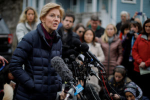U.S. Senator Elizabeth Warren (D-MA) speaks to reporters, after announcing she has formed an exploratory committee to run for president in 2020, outside her home in Cambridge, Massachusetts, U.S., December 31, 2018. REUTERS/Brian Snyder TPX IMAGES OF THE DAY - RC1DBEC52C20