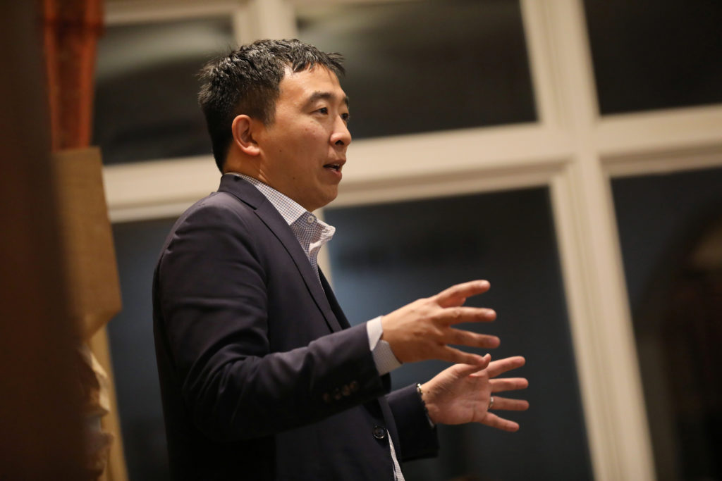 U.S. 2020 Democratic presidential candidate Andrew Yang speaks at Potluck Insurgency, a local democratic activist event, a...