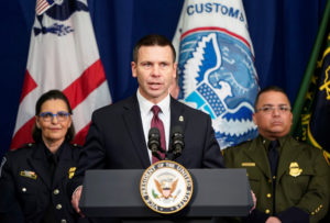 U.S. Customs and Border Protection Commissioner Kevin K. McAleenan speaks at the U.S. Customs and Border Protection Advanced Training Facility in Harpers Ferry, West Virginia on March 13, 2019. Photo by Joshua Roberts/Reuters