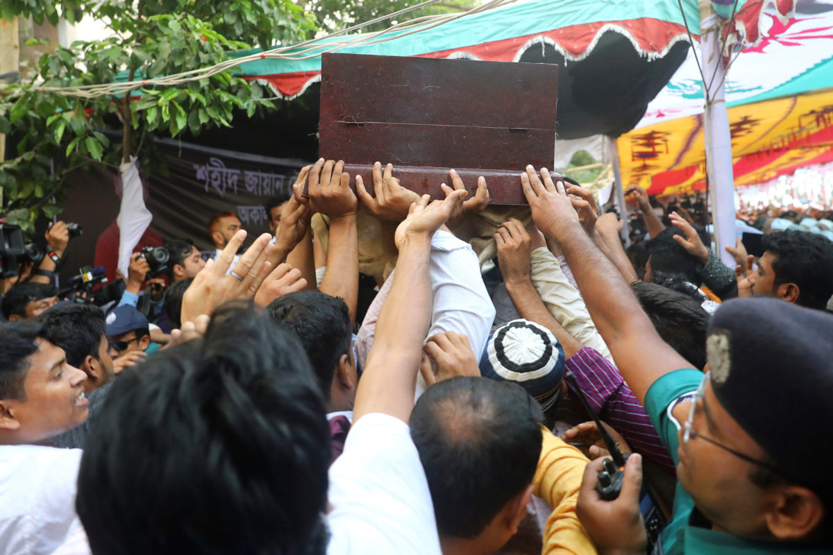 Relatives carry the coffin of Bangladeshi boy killed in one of the Sri Lankan blasts, during a funeral in Dhaka, Bangladesh, April 24, 2019. Photo by Mohammad Ponir Hossain/Reuteres
