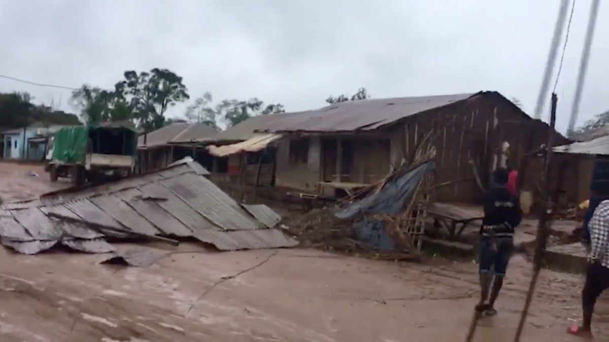 Damaged buildings in the aftermath of cyclone Kenneth are seen in Ancuabe-Sede, Mozambique April 26, 2019 in this still image taken from a social media video obtained on April 27, 2019. SOLIDARMED via Reuters
