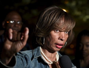 State Senator Catherine Pugh speaks during a TV interview near the City Hall in Baltimore, May 2, 2015. Photo by Sait Serkan Gurbuz/Reuters