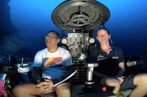 President Danny Faure delivered a live address from a depth of 124 metres below the ocean's surface. Photo courtesy of the State House office of the president of the Republic of Seychelles