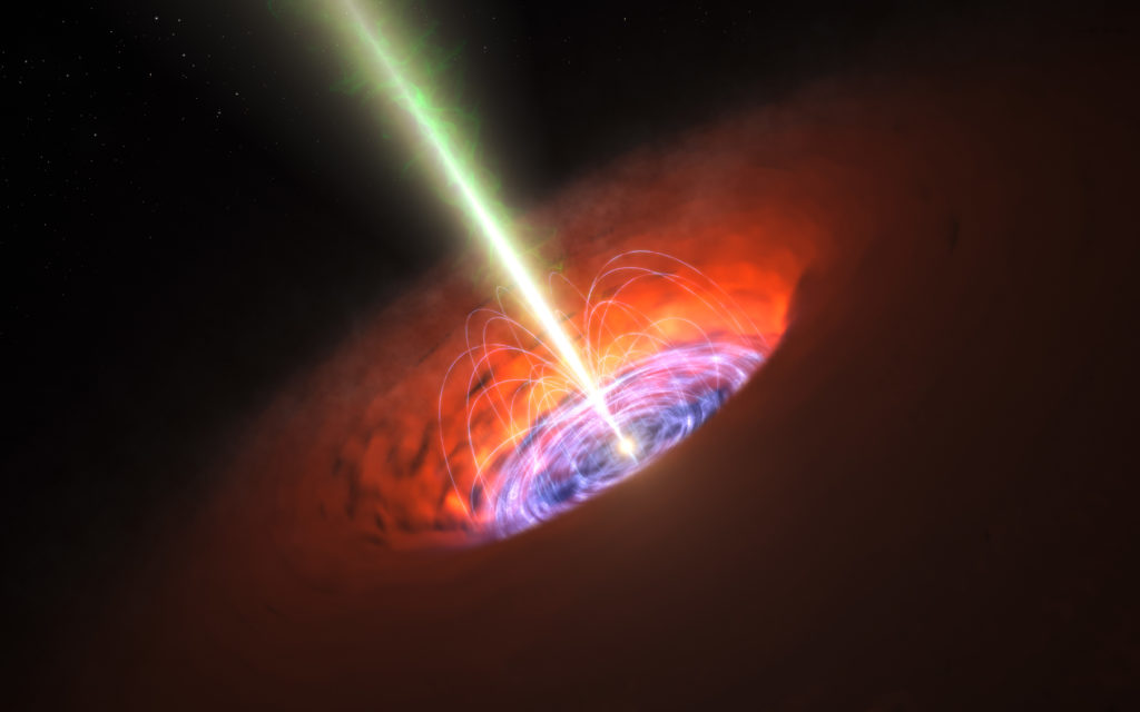 This is not an actual image of a black hole. This artist's impression shows the surroundings of a supermassive black hole, typical of that found at the heart of many galaxies. The black hole itself is surrounded by a brilliant accretion disc of very hot, infalling material and, further out, a dusty torus. There are also often high-speed jets of material ejected at the black hole's poles that can extend huge distances into space. Illustration and caption by European Southern Observatory