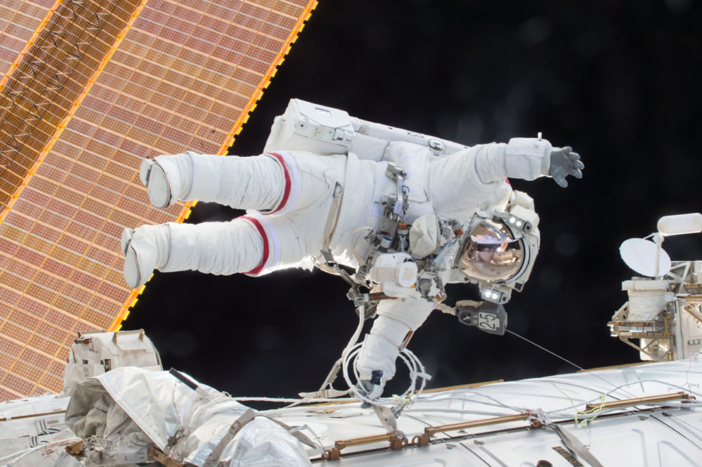 Astronaut Scott Kelly, seen here on a spacewalk outside the International Space Station, was exposed to radiation and microgravity during his year-long mission in orbit. Photo courtesy of NASA