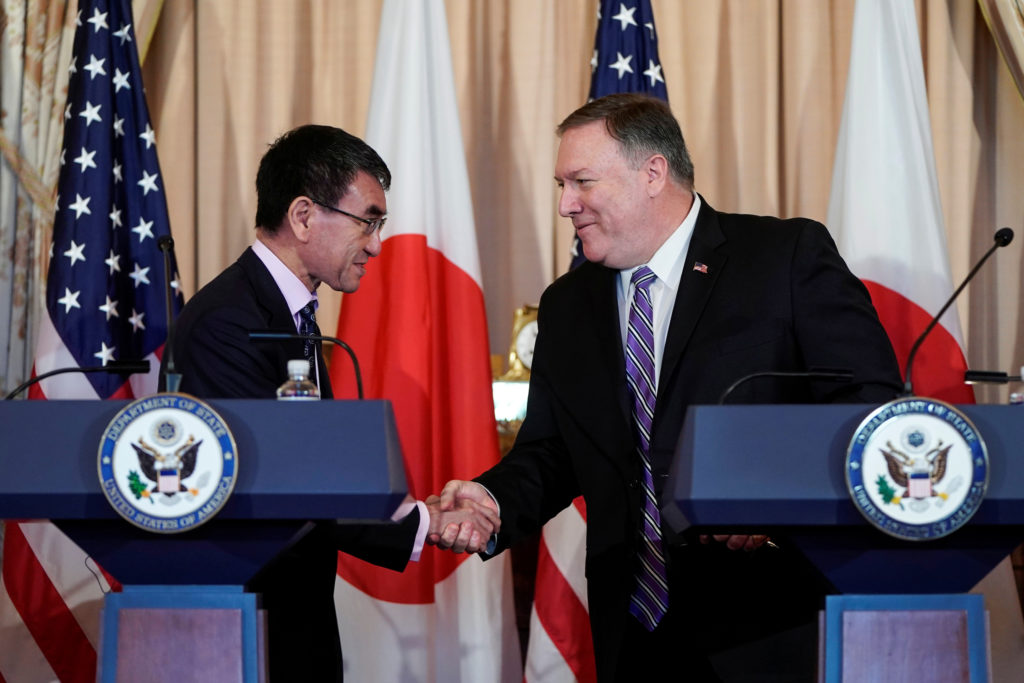 U.S. Secretary of State Mike Pompeo and Japanese Foreign Minister Taro Kono shake hands after speaking to the media at the State Department in Washington, U.S., April 19, 2019. Photo by aREUTERS/Joshua Roberts