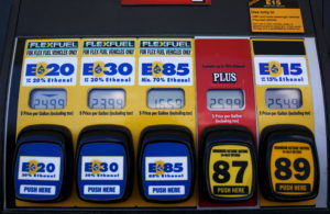 A gas pump displays the price for E15, a gasoline with 15 percent of ethanol, and various other ethanol blends at a gas station in Nevada, Iowa, United States, May 17, 2015. Photo by Jim Young/Reuters