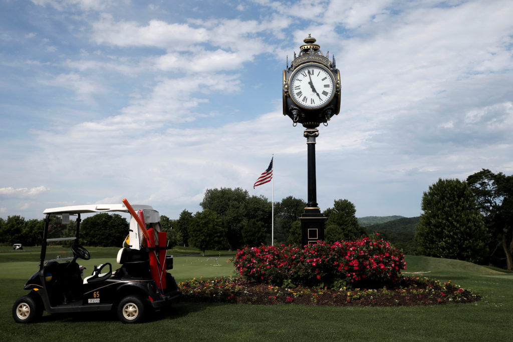 A view of the putting green and clock at the Trump National Golf Club Westchester where U.S. Republican presidential candidate Donald Trump was scheduled to deliver remarks on the date of the vote in presidential primary elections in several states including California, in Briarcliff Manor, New York, on June 7, 2016. Photo by Mike Segar/Reuters