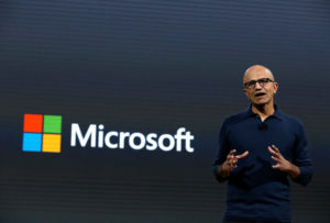 Microsoft CEO Satya Narayana Nadella speaks at a live Microsoft event in the Manhattan borough of New York City, on October 26, 2016. Microsoft has announced an effort to make voting secure. Photo by Lucas Jackson/Reuters