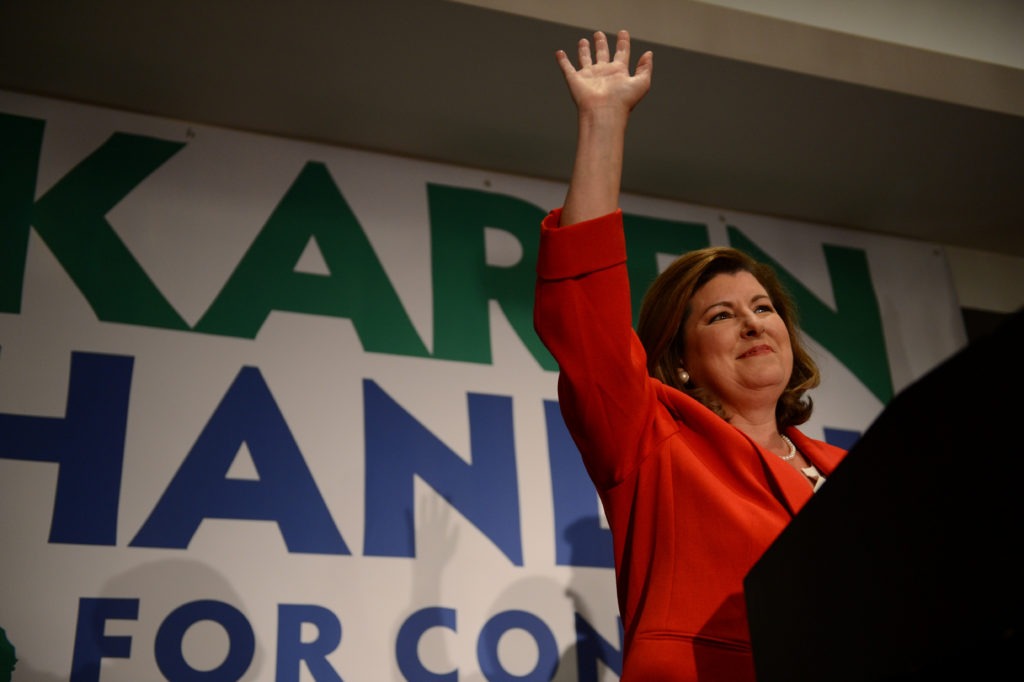 Karen Handel, Republican candidate for Georgia's 6th Congressional District, makes an appearance before supporters prior t...