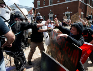 White supremacists clash with counter protesters at a rally in Charlottesville, Virginia, on August 12, 2017. Photo by Joshua Roberts/Reuters