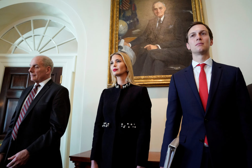 White House Chief of Staff John Kelly and White House senior advisers Ivanka Trump and Jared Kushner listen as U.S. President Donald Trump holds a cabinet meeting at the White House in Washington, on March 8, 2018. Photo by Kevin Lamarque/Reuters