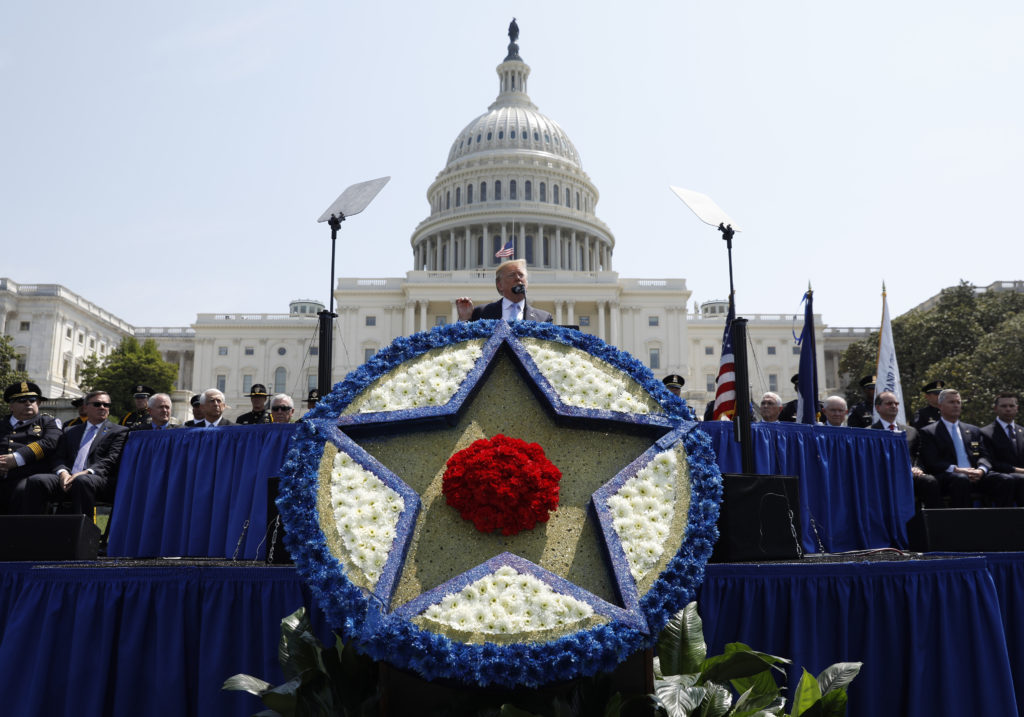 President Donald Trump gives remarks at the 37th Annual National Peace Officers' Memorial Service at the U.S. Capitol in Washington, on May 15, 2018. Photo by Kevin Lamarque/Reuters