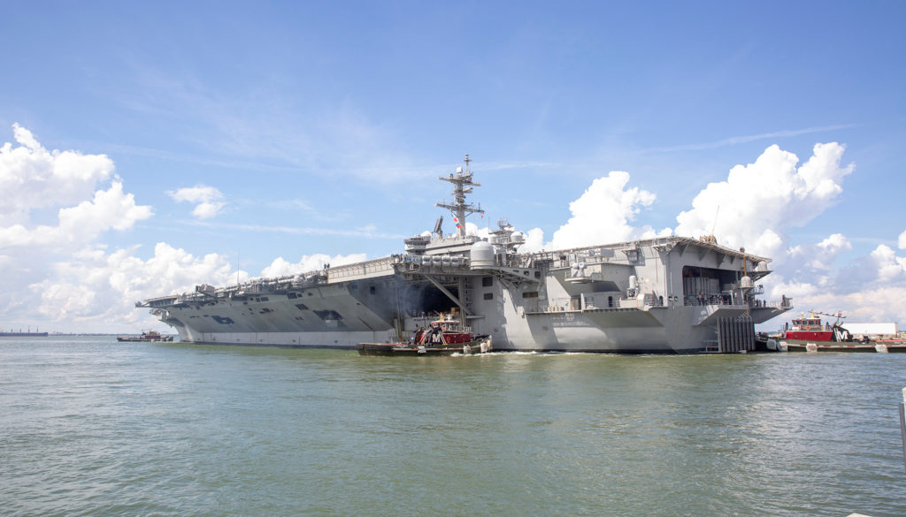 The U.S. Navy aircraft carrier USS Abraham Lincoln departs from Naval Station Norfolk ahead of Hurricane Florence in Norfo...