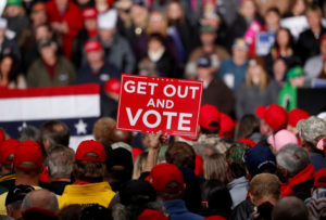 Supporters participate at a Trump campaign rally in Mosinee, Wisconsin, on October 24, 2018. Photo by Kevin Lamarque/Reuters