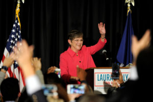 Democrat Laura Kelly talks to her supporters after winning the governor's race at her election night party in Topeka, Kansas on November 6, 2018. Democratic Gov. Kelly vetoed a bill requiring abortion providers to tell patients about a disputed treatment to stop a medication abortion after it's been started. Photo by Dave Kaup/Reuters