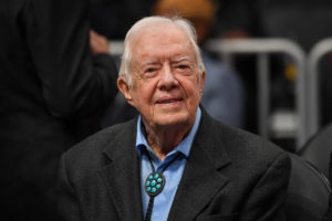 Former President Jimmy Carter shown at the game between the Atlanta Hawks and the New York Knicks at State Farm Arena. File photo by Dale Zanine-USA TODAY Sports