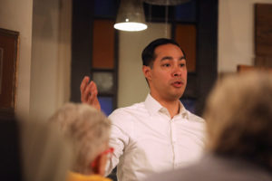 U.S. 2020 Democratic presidential candidate Julian Castro speaks during a campaign stop at The Livery Deli, in Boone, Iowa, on February 23, 2019. Photo by Scott Morgan/Reuters