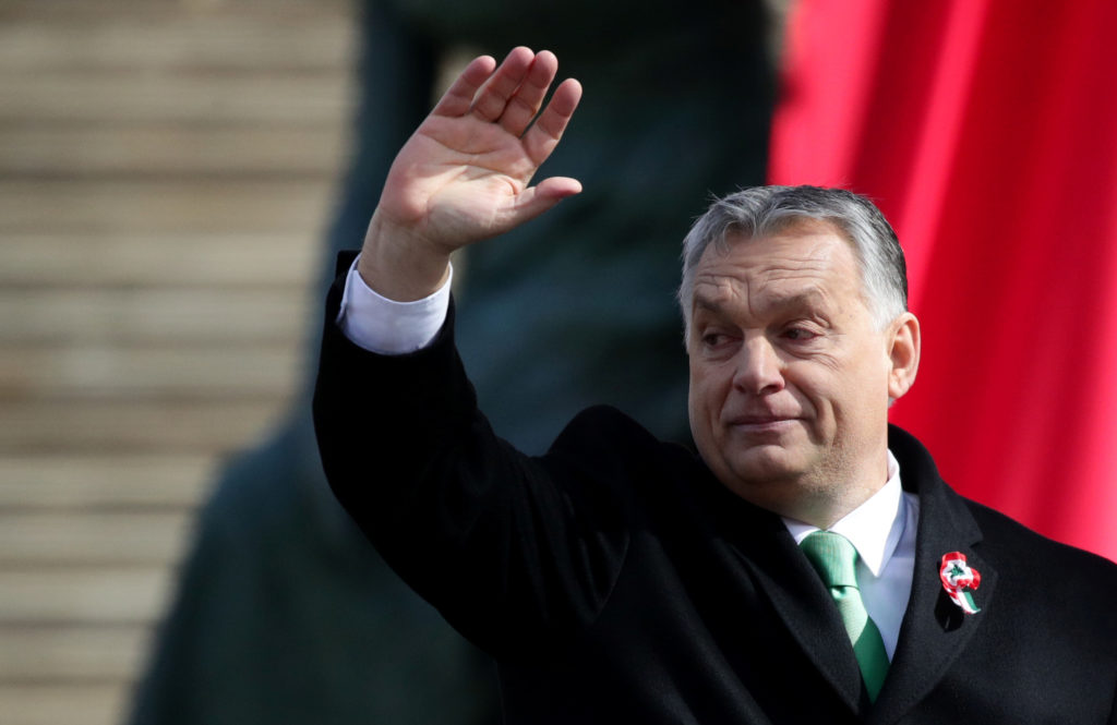 Hungarian Prime Minister Viktor Orban reacts during Hungary's National Day celebrations, which also commemorates the 1848 ...
