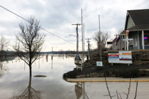 Flood water from Missouri River is seen in downtown Parkville, Missouri, on March 23, 2019. Photo by Karen Dillon/Reuters