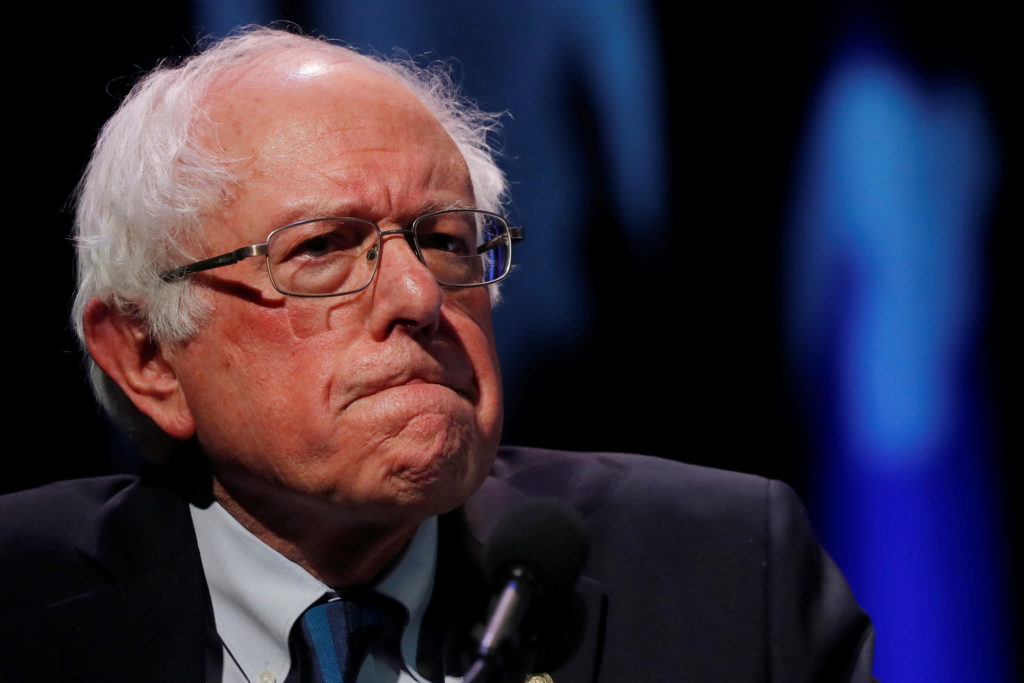 2020 Democratic presidential candidate and Senator Bernie Sanders participates in a moderated discussion at the We the Peo...