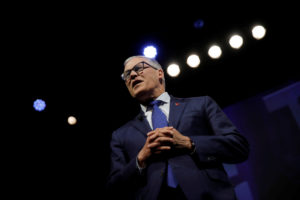 2020 Democratic presidential candidate and Governor Jay Inslee participates in a moderated discussion at the We the People Summit in Washington on April 1, 2019. Photo by Carlos Barria/Reuters