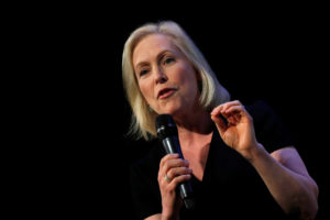 2020 Democratic presidential candidate and Senator Kirsten Gillibrand participates in a moderated discussion at the We the People Summit in Washington, on April 1, 2019. Photo by Carlos Barria/Reuters
