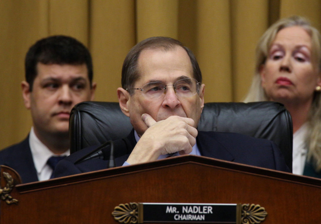 House of Representatives Judiciary Committee Chairman Jerry Nadler (D-NY) listens as the committee debates before voting to authorize subpoenas for Special Counsel Robert Mueller's full unredacted report. Attorney General Barr will not appear before Nadler's committee Thursday. Photo by Alex Wroblewski/Reuters