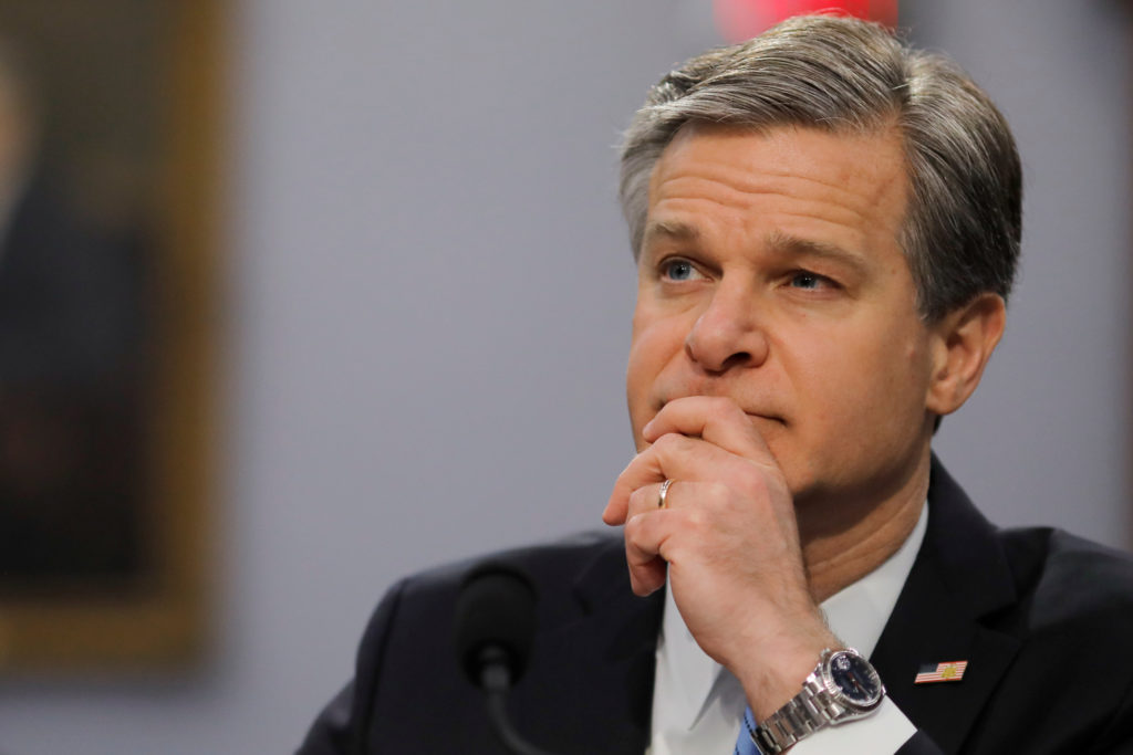 FBI Director Christopher Wray listens to a question as he testifies on the FBI's budget request before a House Appropriations Subcommittee hearing on Capitol Hill in Washington, on April 4, 2019. Photo by Carlos Barria