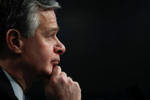 FBI Director Christopher Wray testifies on the FBI's budget request before a House Appropriations Subcommittee hearing on Capitol Hill in Washington, on April 4, 2019. Photo Carlos Barria/Reuters