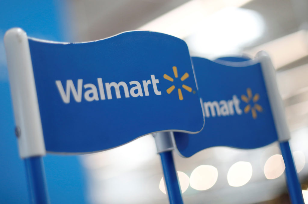 Walmart signs are displayed inside a Walmart store in Mexico City, Mexico March 28, 2019. File photo by REUTERS/Edgard Garrido