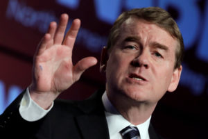 Sen. Michael Bennet, D-Colo., speaks at the North America's Building Trades Unions (NABTU) 2019 legislative conference in Washington, U.S., April 10, 2019. Photo by Yuri Gripas/Reuters