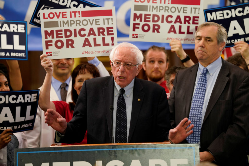 """Democratic U.S. presidential candidate U.S. Sen. Bernie Sanders (I-VT) speaks at a news conference to introduce the """"Medic..."""