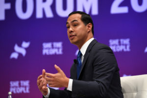Democratic presidential candidate Julian Castro participates in the She the People Presidential Forum in Houston, Texas, on April 24, 2019. Photo by Loren Elliott/Reuters