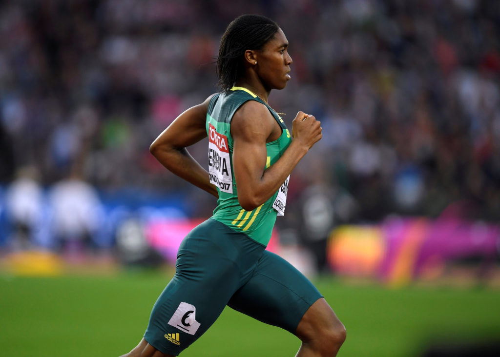 Caster Semenya of South Africa wins the semi-final heat of the 800 meters semi-final at the World Athletics Championships ...