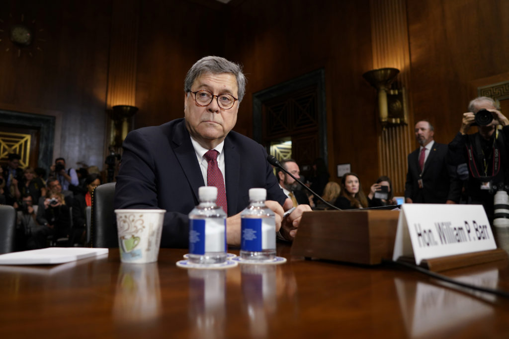 """U.S. Attorney General William Barr arrives to testify before a Senate Judiciary Committee hearing on """"the Justice Departme..."""