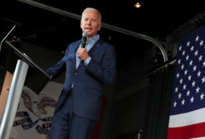 Democratic presidential candidate and former Vice President Joe Biden holds a campaign rally in Iowa City, Iowa, on May 1, 2019. Photo by Jonathan Ernst/Reuters