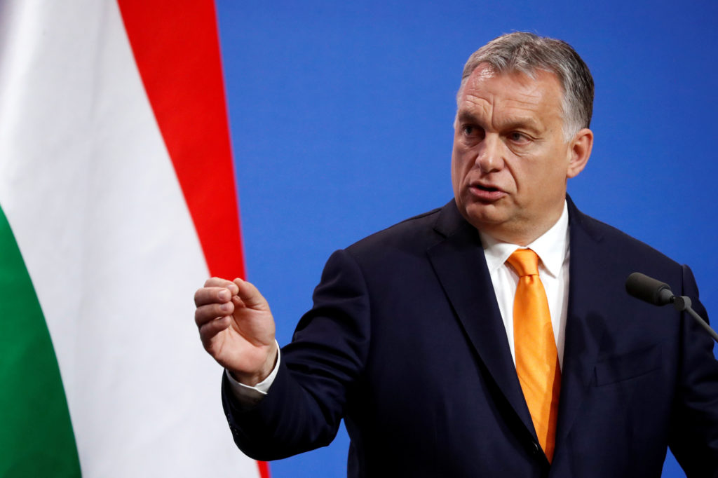 Hungarian Prime Minister Viktor Orban speaks during a joint news conference with Italian Deputy Prime Minister Matteo Salv...