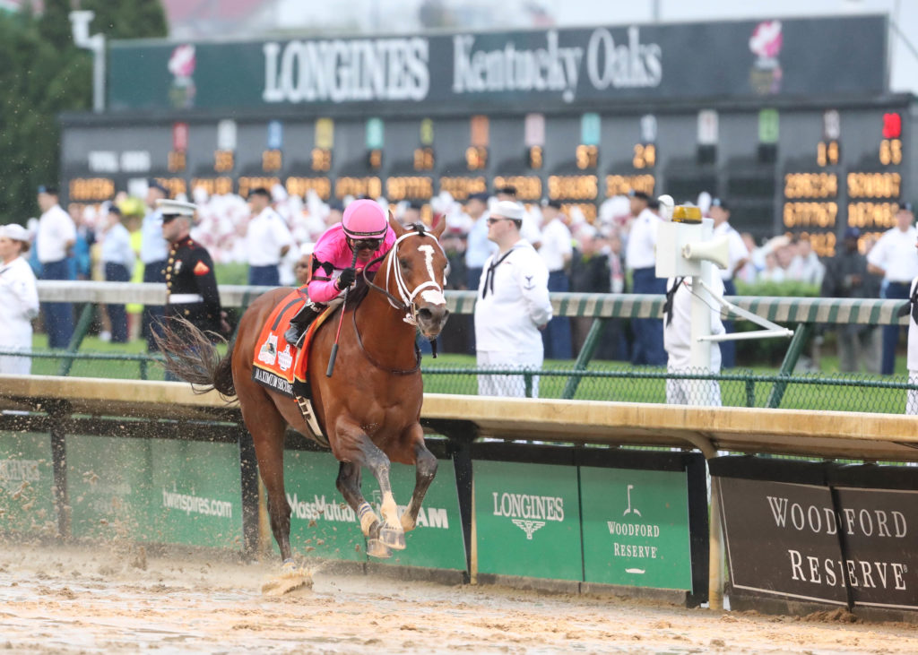 Luis Saez aboard Maximum Security crosses the finish line during the 145th running of the Kentucky Derby at Churchill Down...
